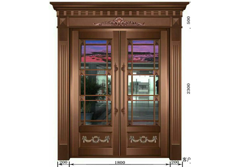 工业南路铜门安装案例